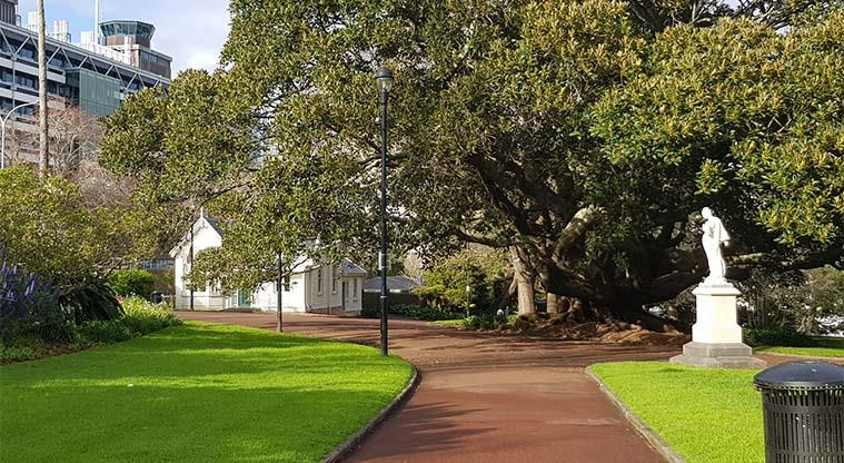 Albert Park - The University of Auckland in the background, giant trees, statues and heritage buildings within the park.