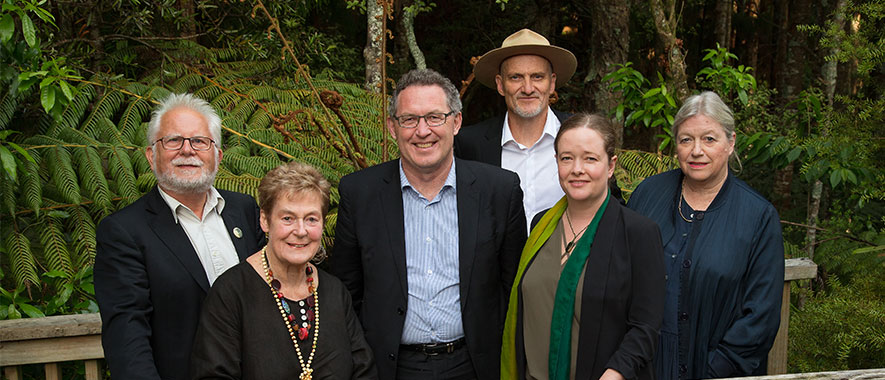 The six members of the Waitākere Ranges Local Board pose together for a photo.