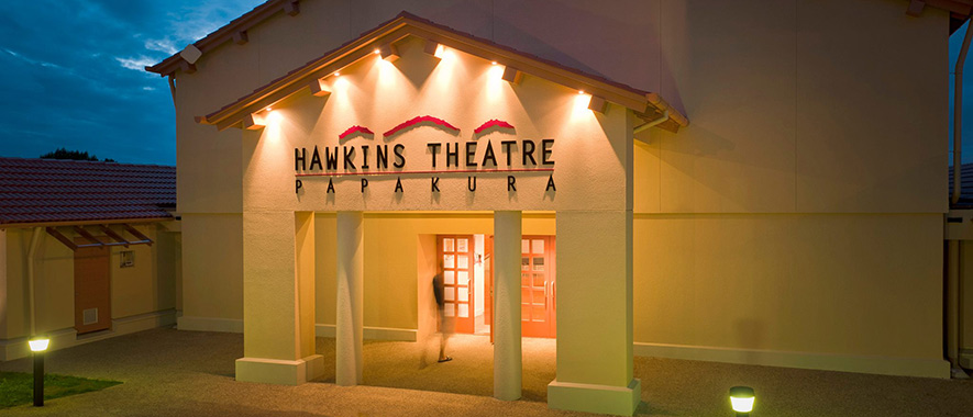 Lights adorn the entrance to the Hawkins theatre.