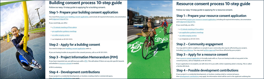 Screenshot of the step-by-step guide pages for Building consent and Resource consent processes.