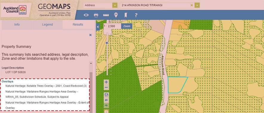 Screenshot of GeoMaps Overlays in search results.