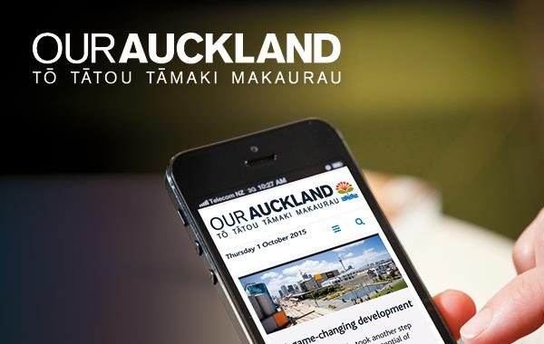 OurAuckland website on a mobile phone screen