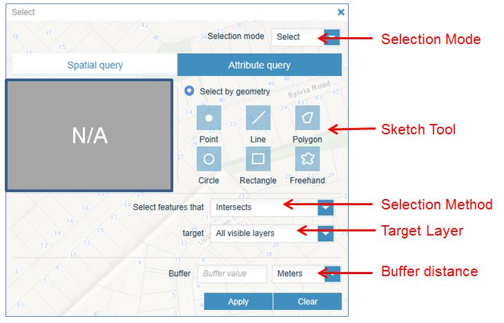 Screenshot of the Select tool (spatial query) features in GeoMaps.