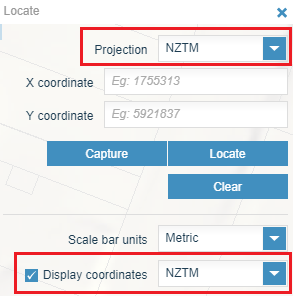 screenshot showing location of projection and display coordinates boxes