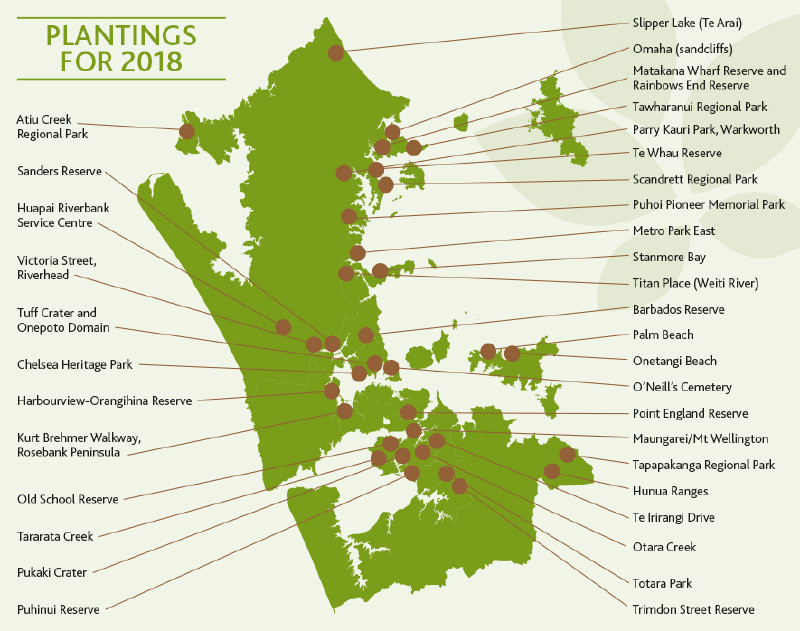 Planting location map for the million Trees programme.