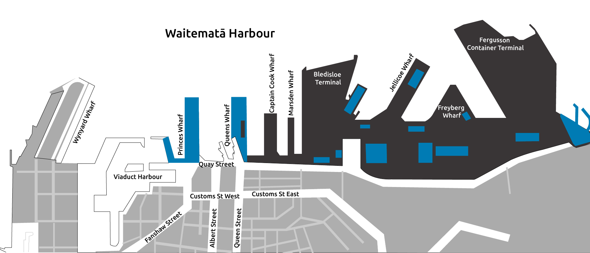 Aerial sketch of the port and harbour showing Wynyard wharf, Viaduct Harbour, Princess Wharf, Queens Wharf, Captain Cook Wharf, Marsden Wharf, Bledisloe Terminal, Jellicoe Wharf, Freyberg Wharf and Fergusson Container Terminal