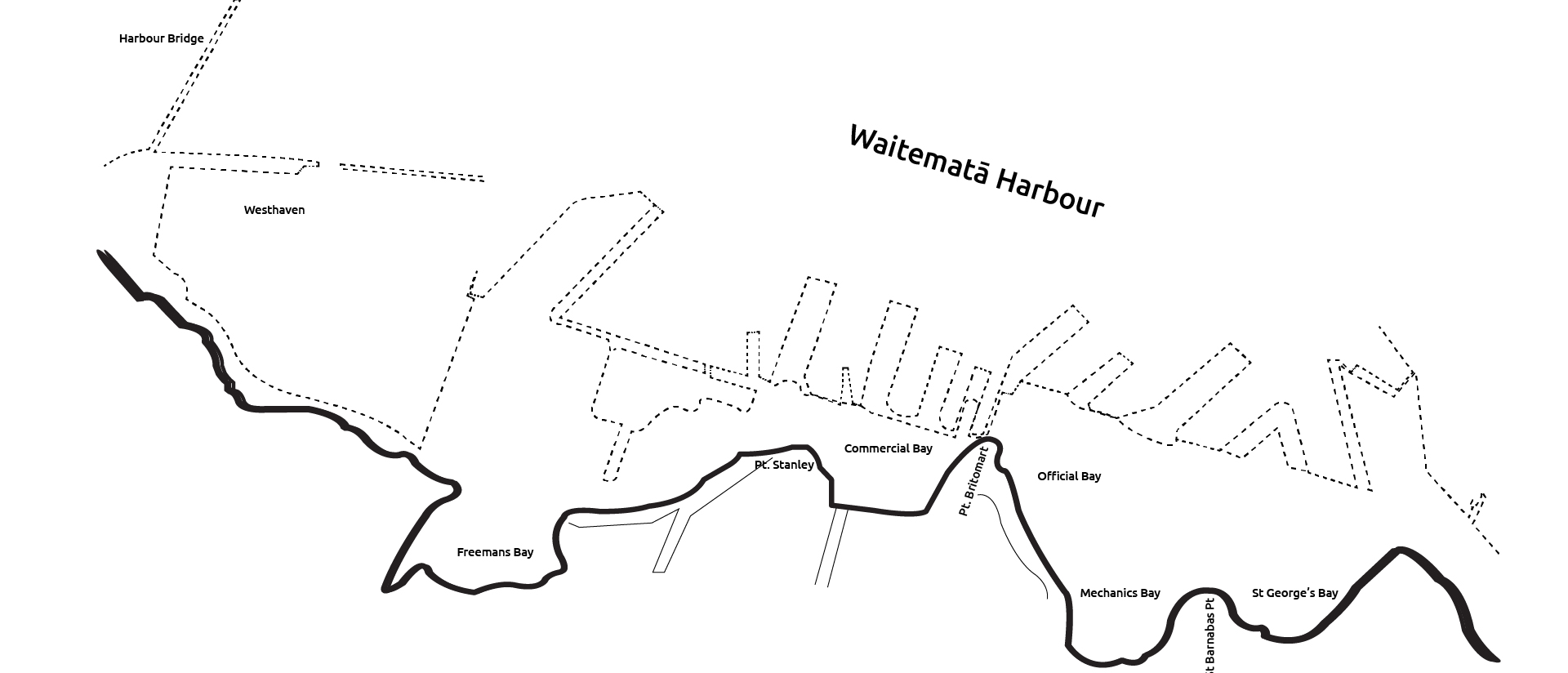 Diagram shows the shoreline of the Waitemata from the CBD with the present day footprint of wharfs shown in a dotted line