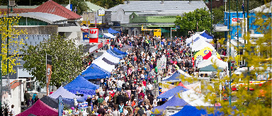 Photo of a busy market with lots of gazebos and people.