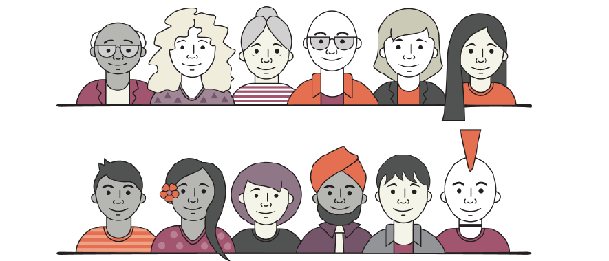 Illustration of 12 people of different ages, sex and ethnicity.