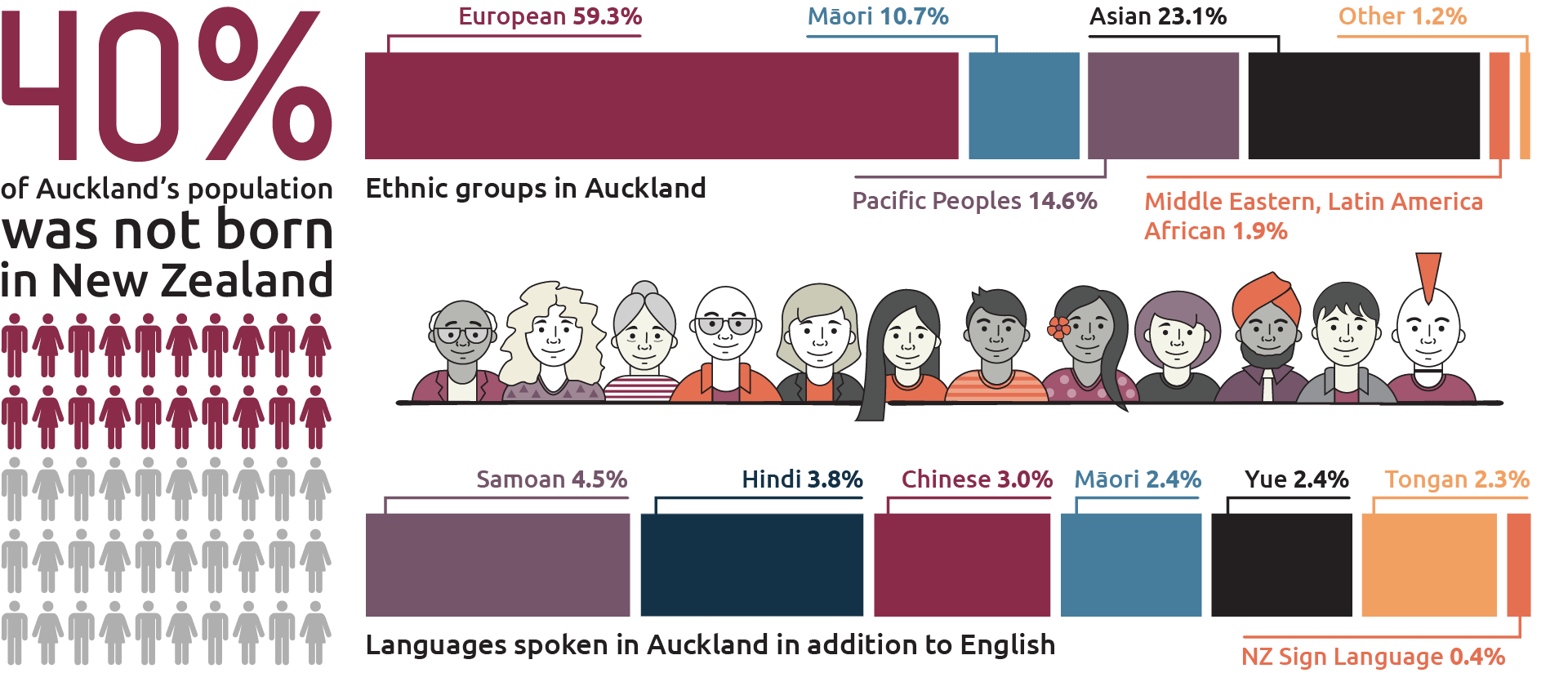 Graphic showing ethnic groups. Auckland is 59 per cent European, 11 per cent Maori, 15 per cent pacific peoples, 23 per cent Asian, 2 per cent Middle Eastern, Latin American, African, 1 per cent other.