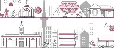 Graphic of Auckland landmarks such as the ferry terminal building, sky tower, a volcanic cone, people, and community facilities
