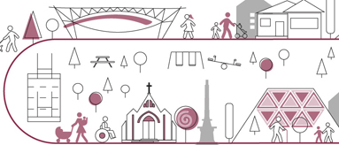 Graphic of Auckland landmarks such as the ferry terminal building, sky tower, and community facilities