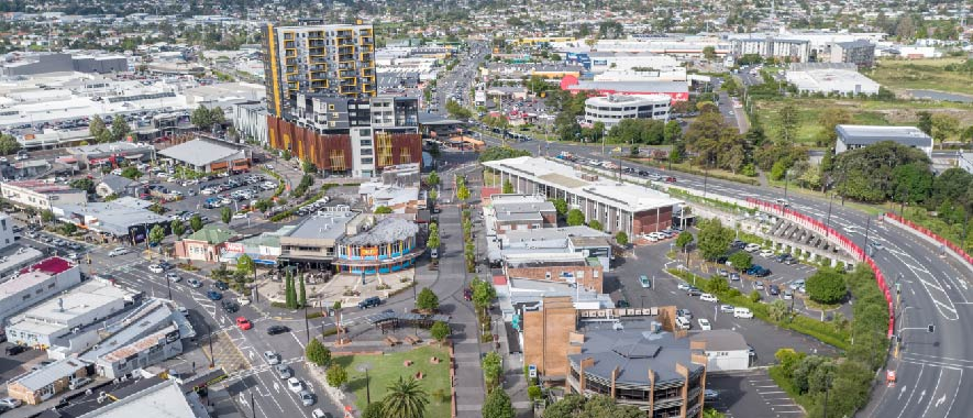 Photograph of New Lynn from above showing the shared spaces.