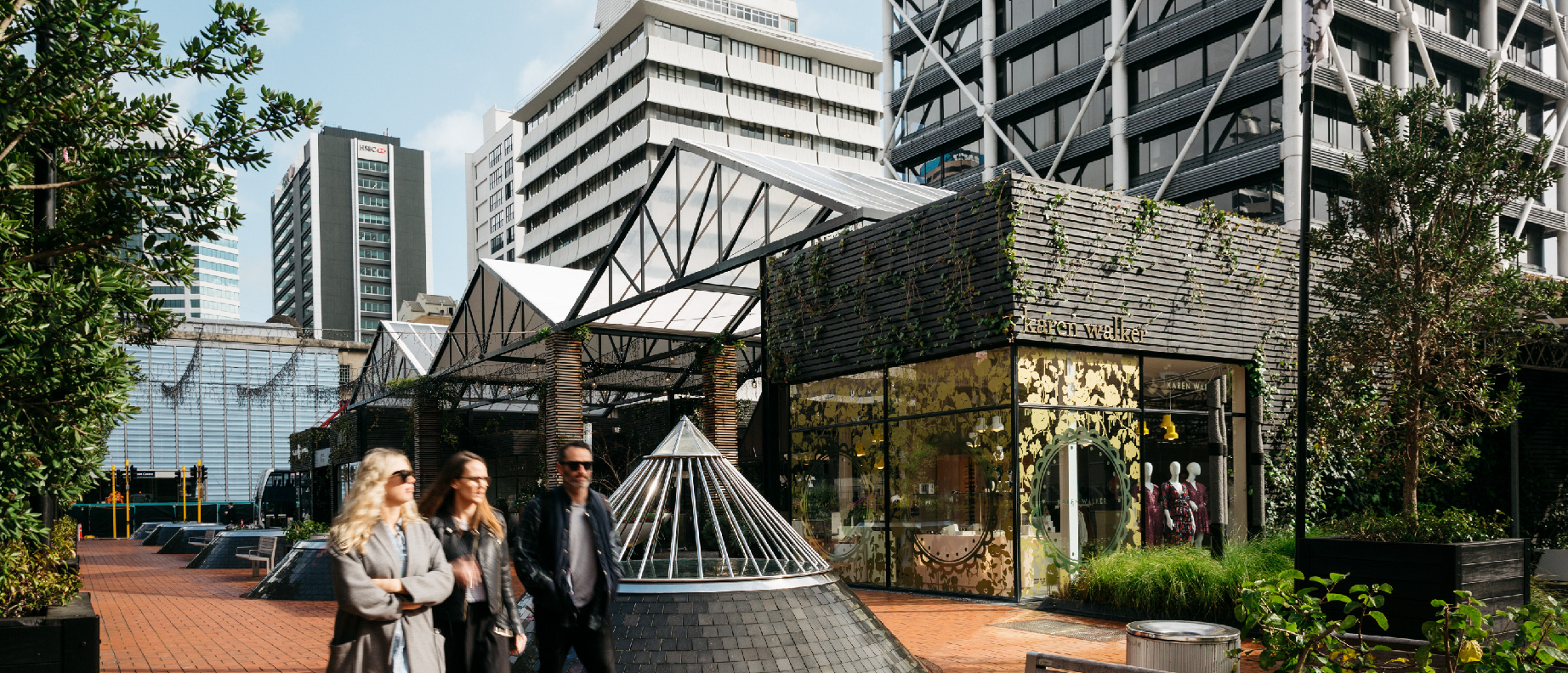 Photograph showing public space improvements near Britomart Train Station.