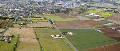 Aerial photo of Pukekohe farmland.