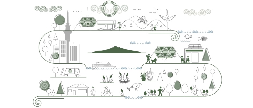 Conceptual graphic of Auckland landmarks such as the sky tower, rangitoto island, and one tree hill.
