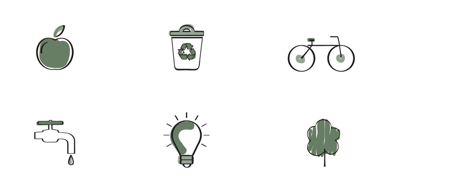Icons to represent sustainability, an apple for food, a recycle bin for zero waste, a bicycle for travel, a tap for water, a lightbulb for energy and a tree for nature.