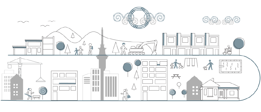 A sketch showing a vibrant Auckland with homes and community spaces for all.