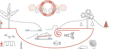 Sketch showing Auckland's strong Māori identity. Includes a fishing boat, sea life, and people enjoying Auckland's facilities.