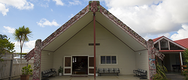 Photo of a marae entrance.