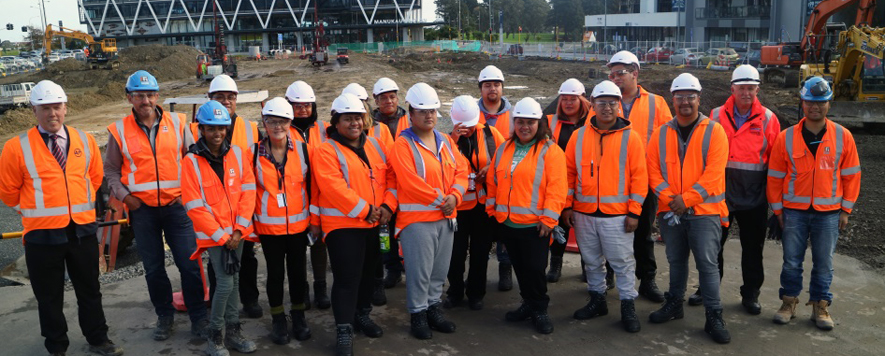 Photograph showing participants of the Māori and Pasifika Trades Training programme on a construction site.