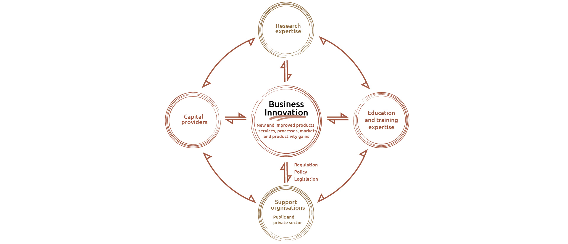 A visual showing the environment that is required to support and encourage business innovation. Business innovation includes the development of new and improved products, services, processes and markets and delivering gains in productivity.