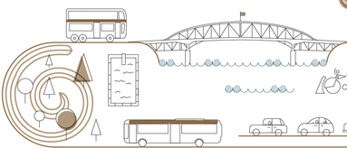Sketch showing Auckland transport options including buses, and cars along with some landmarks of Auckland.
