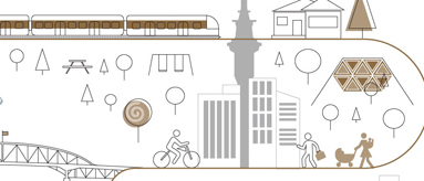 Sketch showing Auckland transport options.