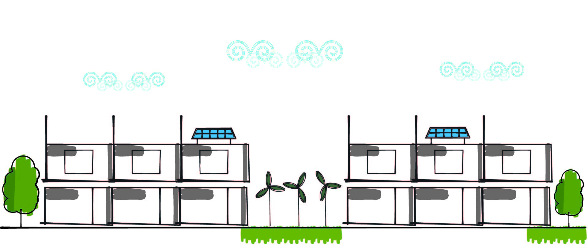 Illustration of two-storey buildings with solar panels on the roofs and wind turbines between the buildings.