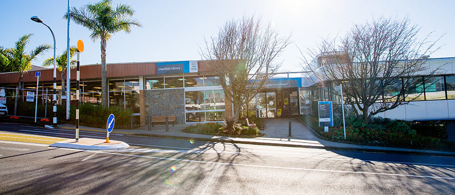 The front entrance to Glenfield Service Centre and Library with nearby pedestrian crossing.