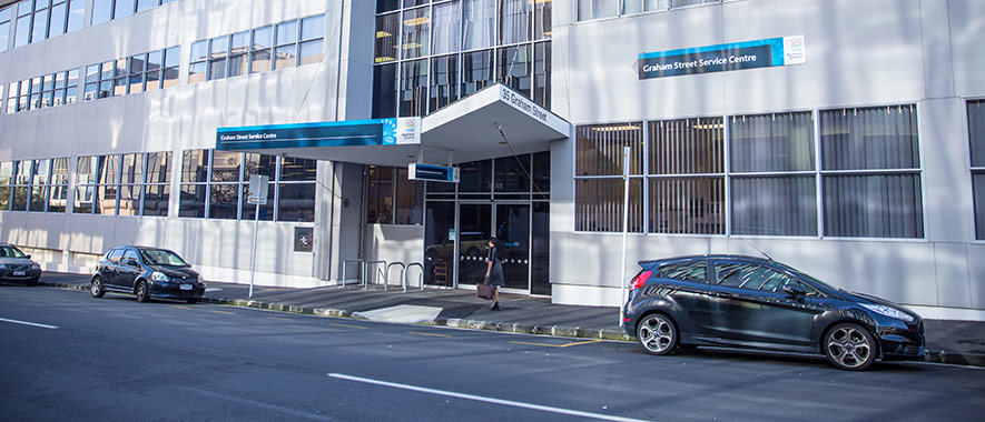 The front entrance to Graham Street Service Centre with adjoining customer car parking spaces.