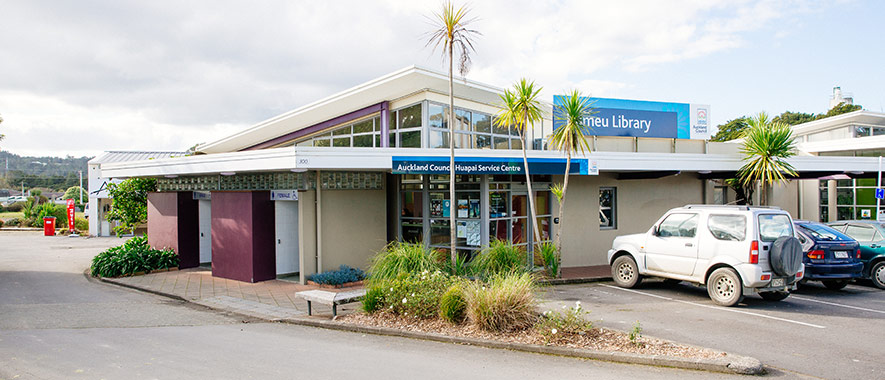 Carpark and entrance to the Huapai Service centre and Kumeu library.
