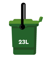 Papakura food scraps bin is green and has a 23-litre size.
