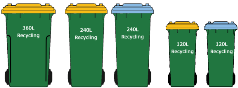 Auckland Central recycling bins are green with a yellow or blue lid and come in 360, 240 or 120 litre sizes.