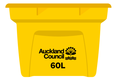 Aotea Great Barrier Island recycling crates are yellow and only available in a 60-litre size.