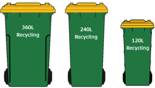 Rodney recycling bins are green with a yellow lid and come in 360, 240 and 120 litre sizes.