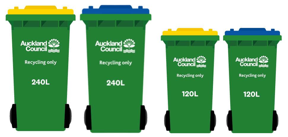 Waiheke Island recycling bins are green with yellow or blue lids and come in 240 or 120 litre sizes.