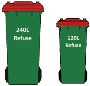 Central Auckland rubbish bins are green with a red lid and come in 240 or 120 litre sizes.