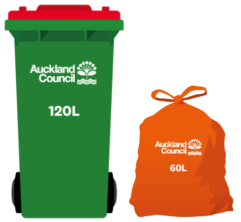 Aotea Great Barrier Island rubbish bins are green with a red lid and are of 120-litre size. Rubbish bags are of 60-litre size.