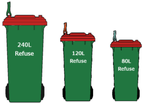 Papakura rubbish bins are green with a red lid and come in 240, 120 and 80 litre sizes.
