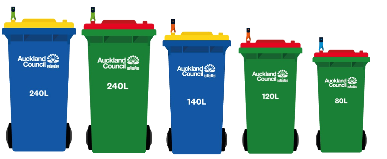 North Shore rubbish bins are either blue with a yellow lid and come in 240 or 140 litre sizes, or green with a red lid and come in 240, 120 or 80 litre sizes.