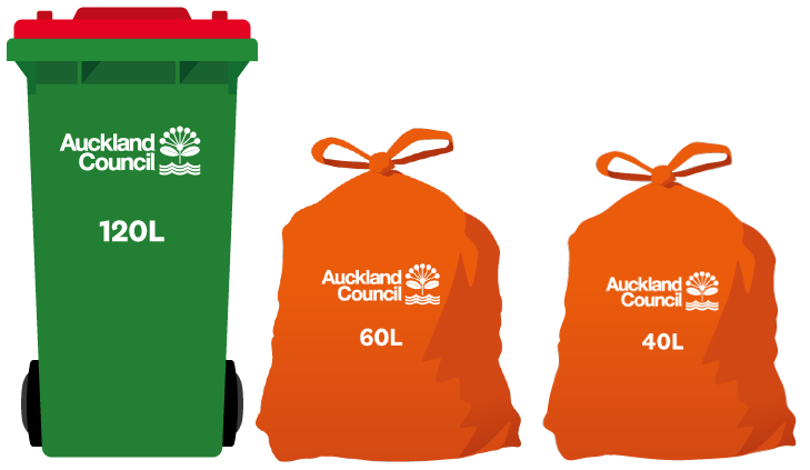 Waiheke Island rubbish bins are green with red lids and in 120-litre size. Rubbish bags are red and in 60 or 40-litre sizes.